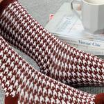 Houndstooth Cotton Socks Mix Maroon