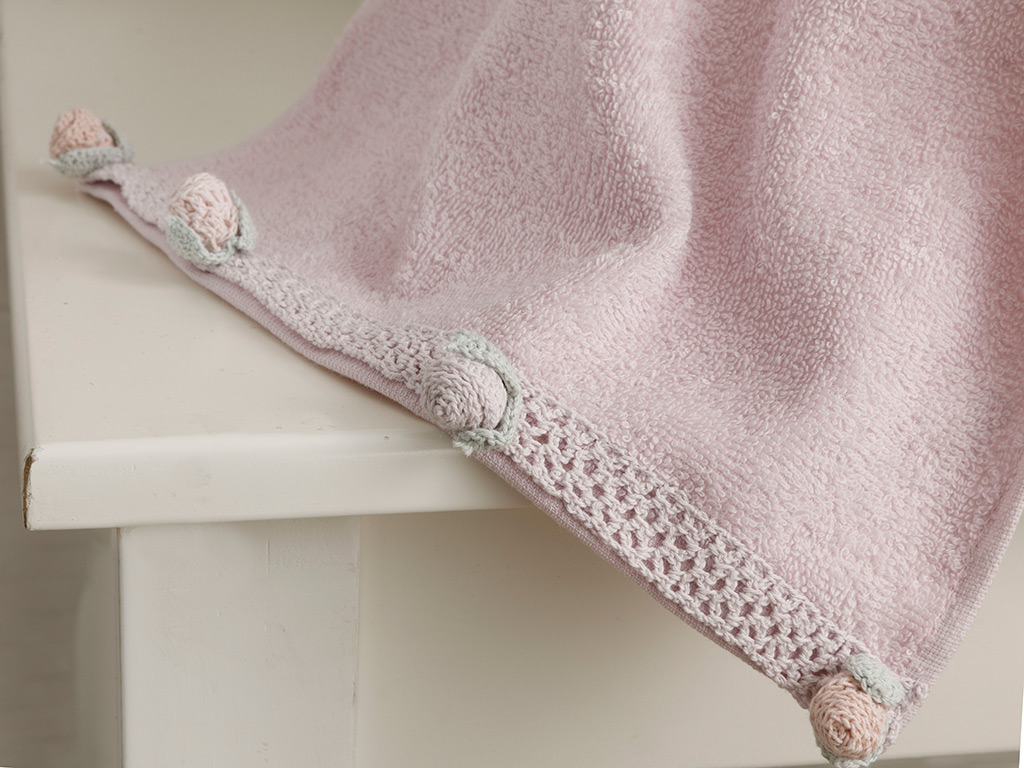 Mini Rose Crocheted Hand Towel 30x45 Cm Light Purple