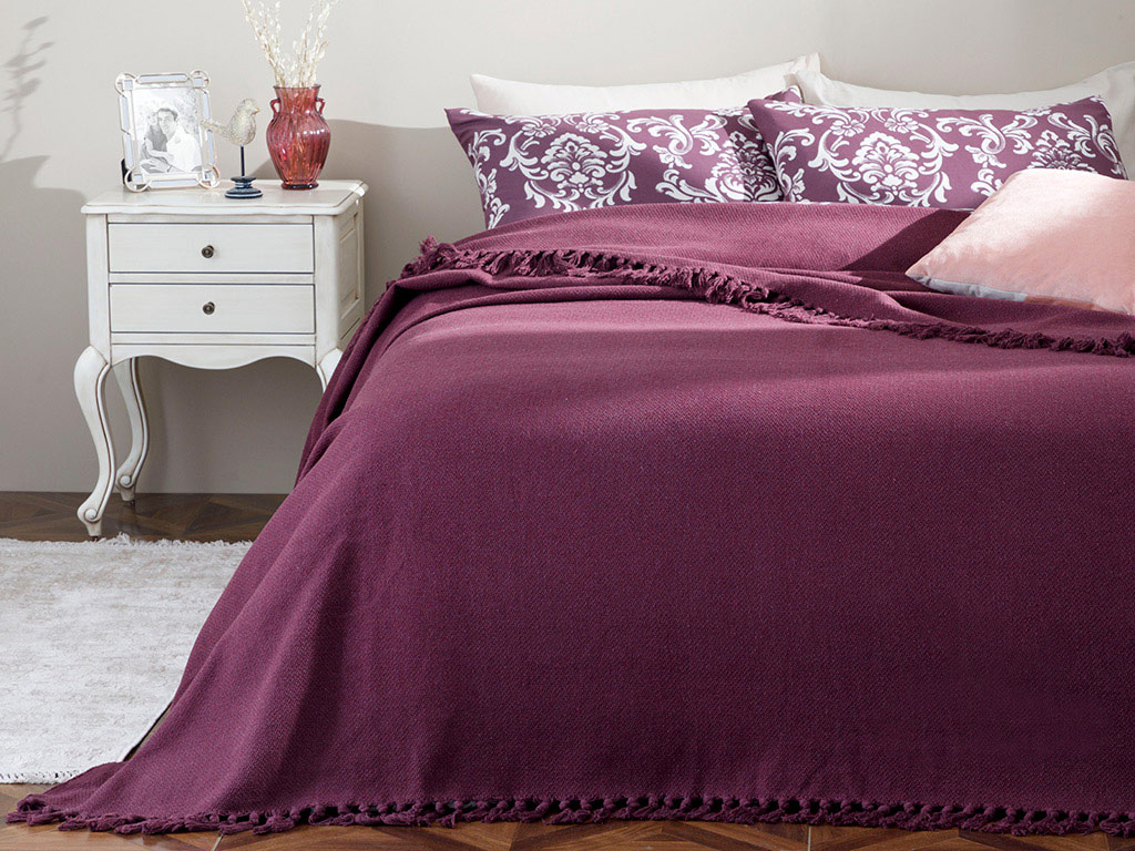 Crimped Weaved  Bed Quılt Double Size 240x260 Cm Damson