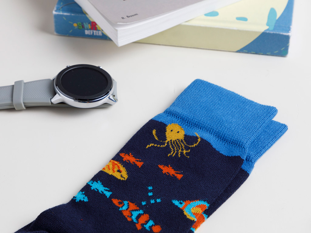 Fish Cotton Socks Mix Navy Blue