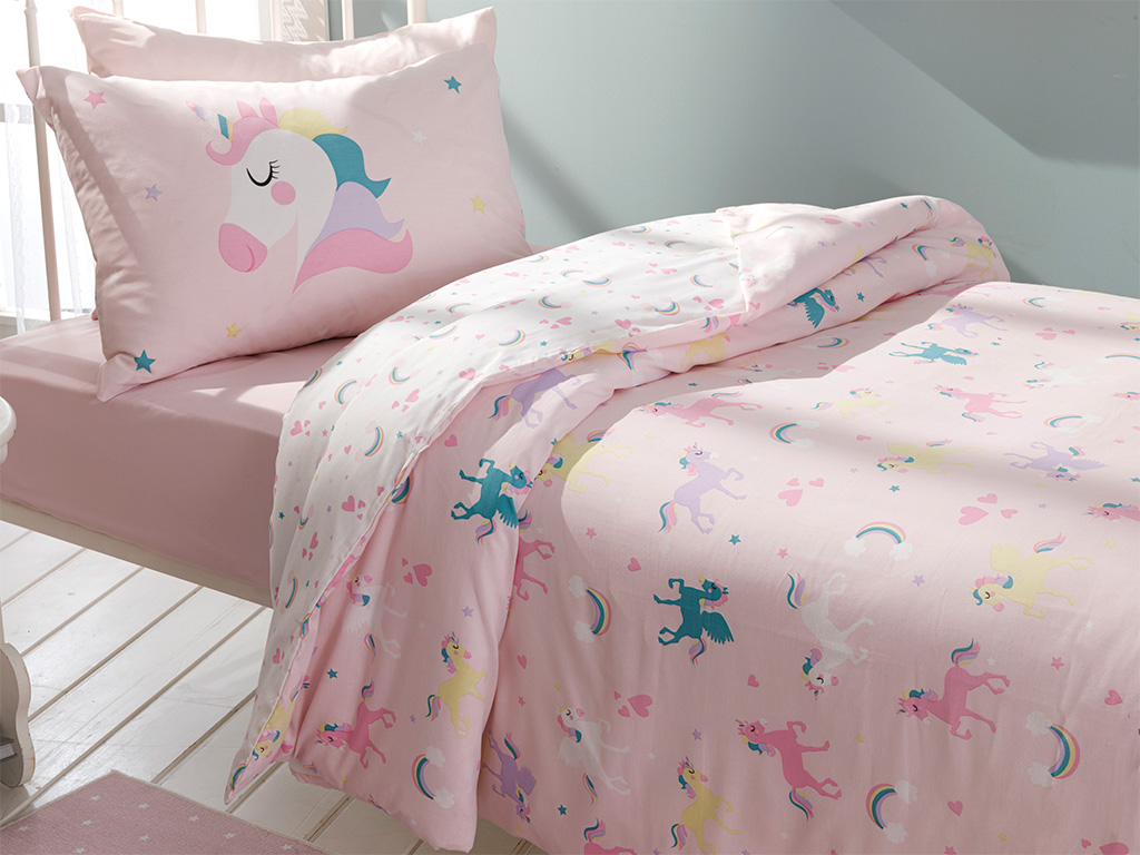 Unicorns Cotton Baby Duvet Cover Full Set 160x220 Cm Pink