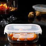 Pure Glass Rectangular Storage Box 420 Ml Maroon