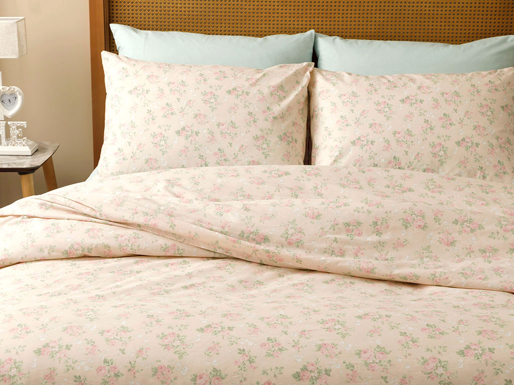 Sweet Rose Cotton Duvet Cover Set Super King 260x220 Cm Powder