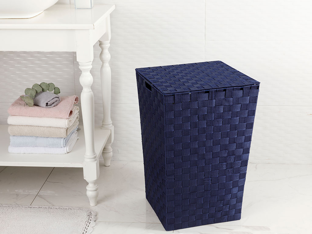 Checked Polypropilen Laundry Basket Navy Blue