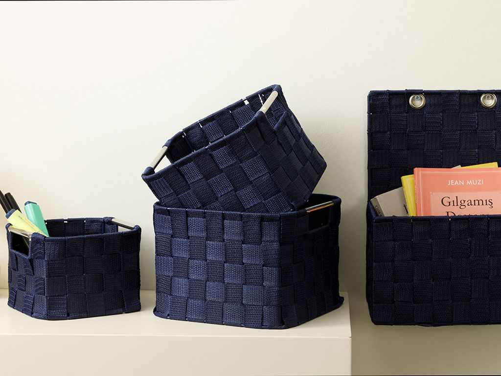 Checked Polypropilen Basket 19x19x13 Cm Navy Blue