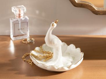 Peafowl Ceramic Jewelry Holder 12x12x9,5 Cm White