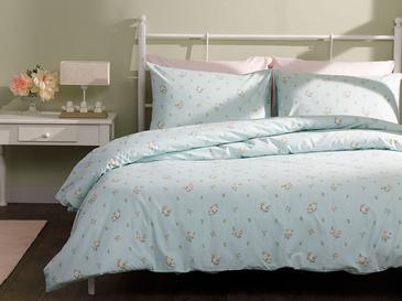 Pretty Flowers Cotton Duvet Cover Set Single Size 160x220 Cm Light Seledon