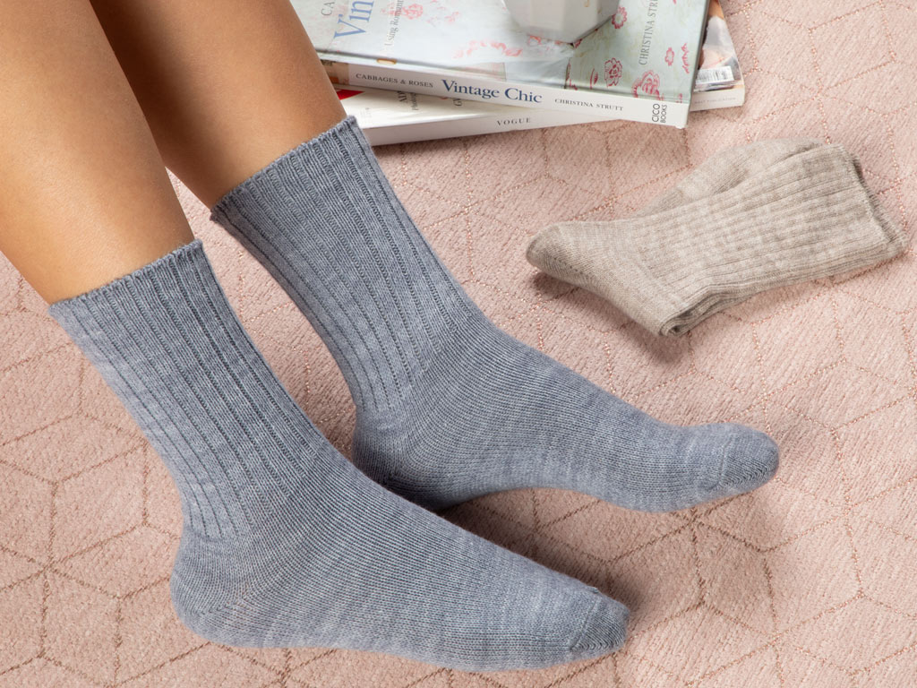 Sleep Well Socks 2 Piece 39-41 Beige-Indigo