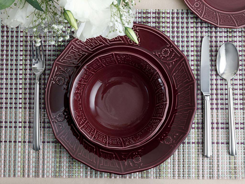 Lacita Porcelain Dinner Set 12 Piece Damson