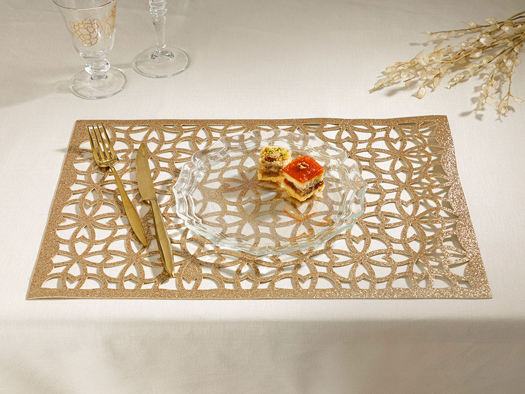 Shiny Puff Place Mat 2 Piece 45x30 Cm Gold