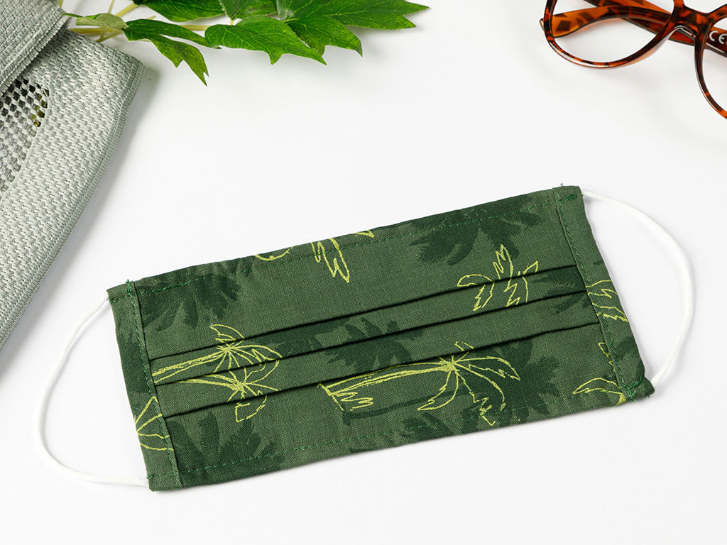 Palms Cotton Mask 9,5x18 Cm Dark Green