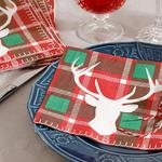 Deer Paper Napkin 20 Piece 33x33 Cm Red-Green