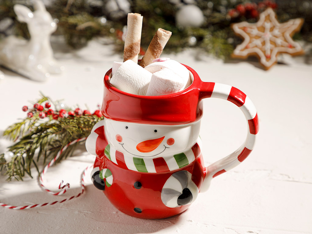 Snowman Dolomite Cup Red-White