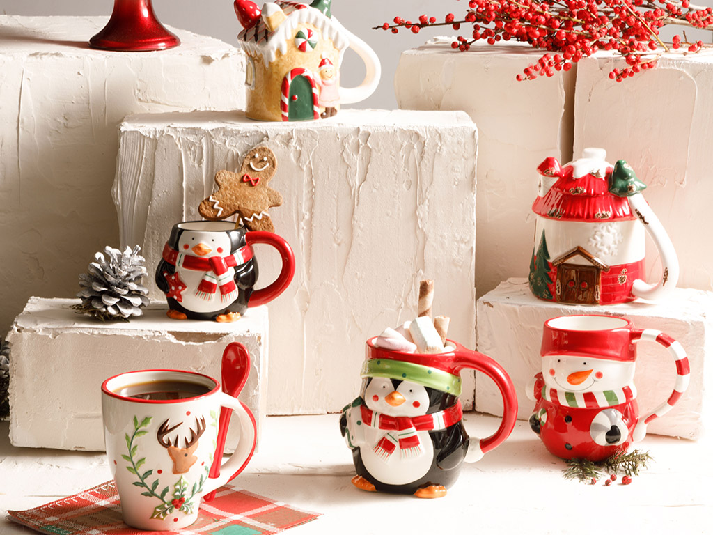 Merry Deer Dolomite Cup 13x28 Cm White-Red