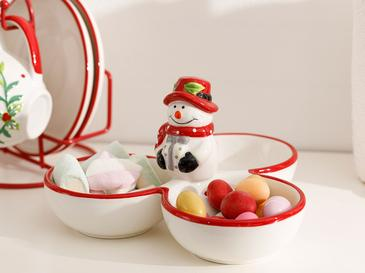 Snowman Dolomite Appetizers 16x16x22 Cm Red-White