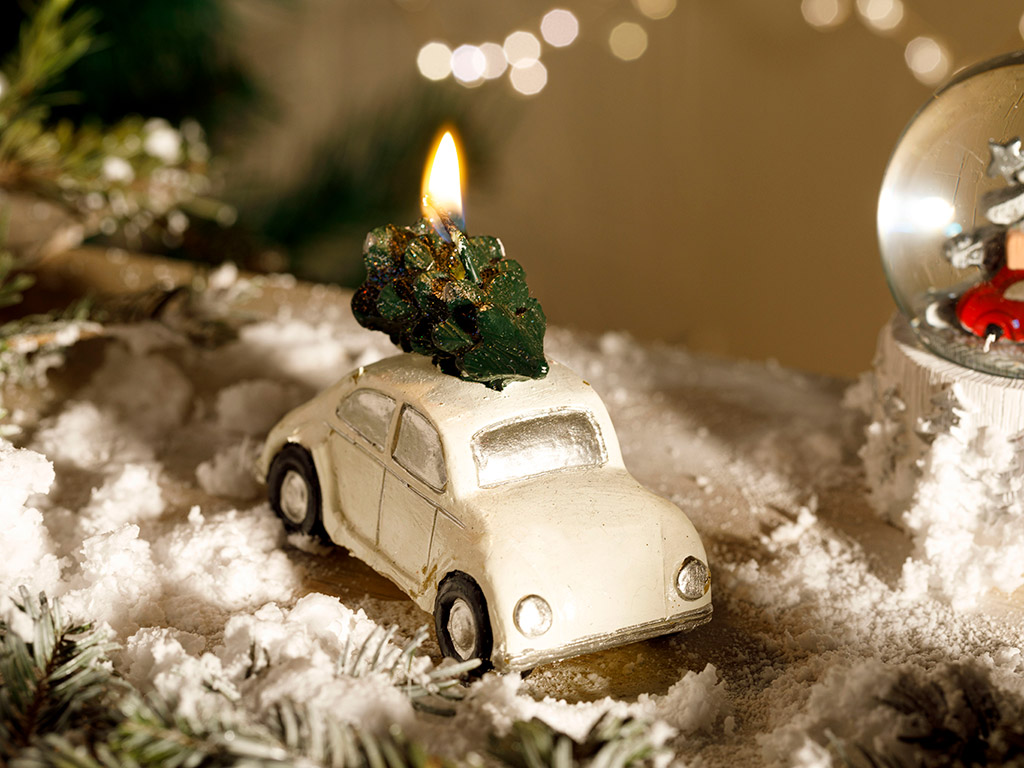 Christmas Parafin Candle 9,5x6,5 Cm Beyaz