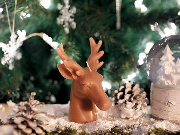 Sweet Deers Parafin Candle 9x9x13 Cm Pembe