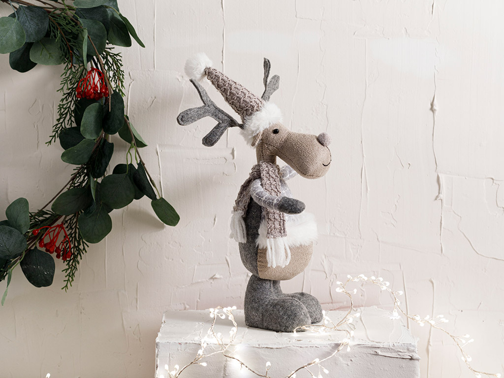 Lovely Deer Polyester Decorative Object 17x9x26 Cm Gray