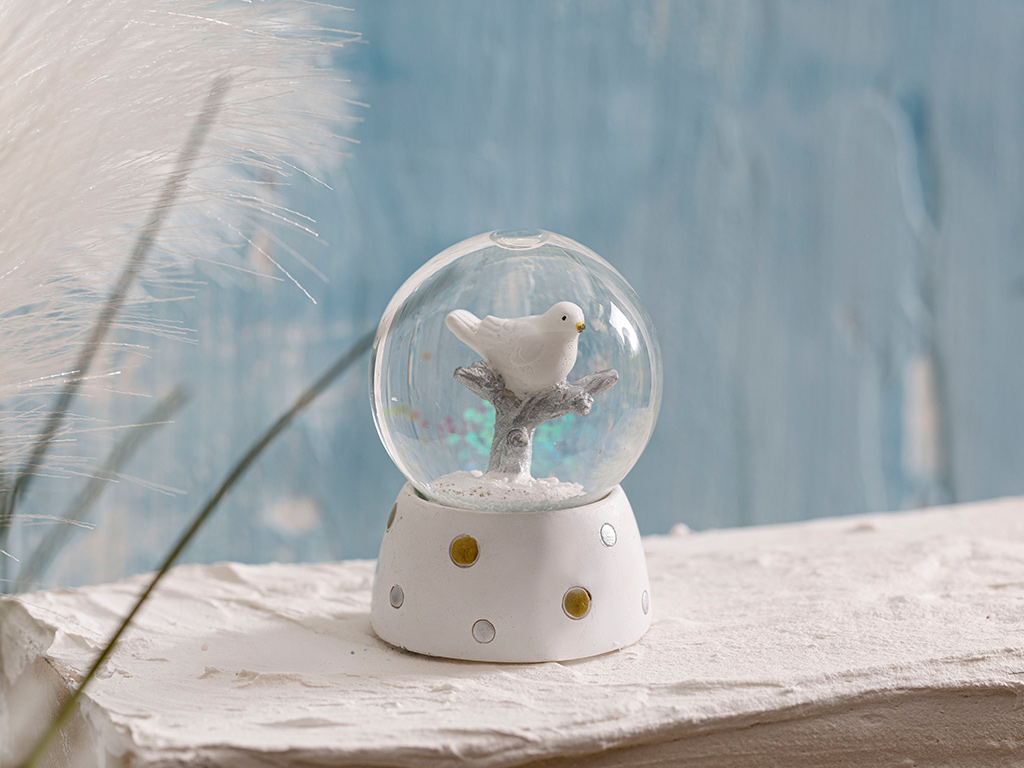 Winter Birds Stone Powder/polyresin Snow Globe 4,5x10,5x4,5 Cm White