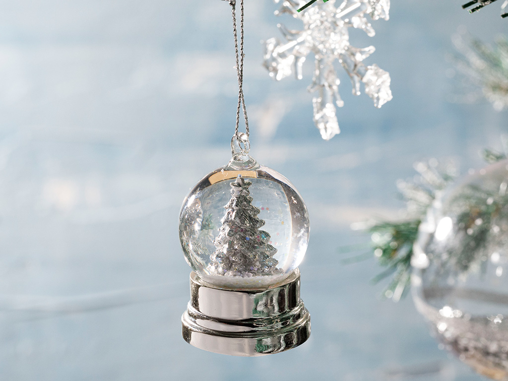 White Christmas Tree Stone Powder/polyresin Snow Globe White