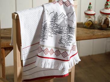 Winter Tree Cotton Drying Cloth 2 Piece 40x60 Cm Red-White