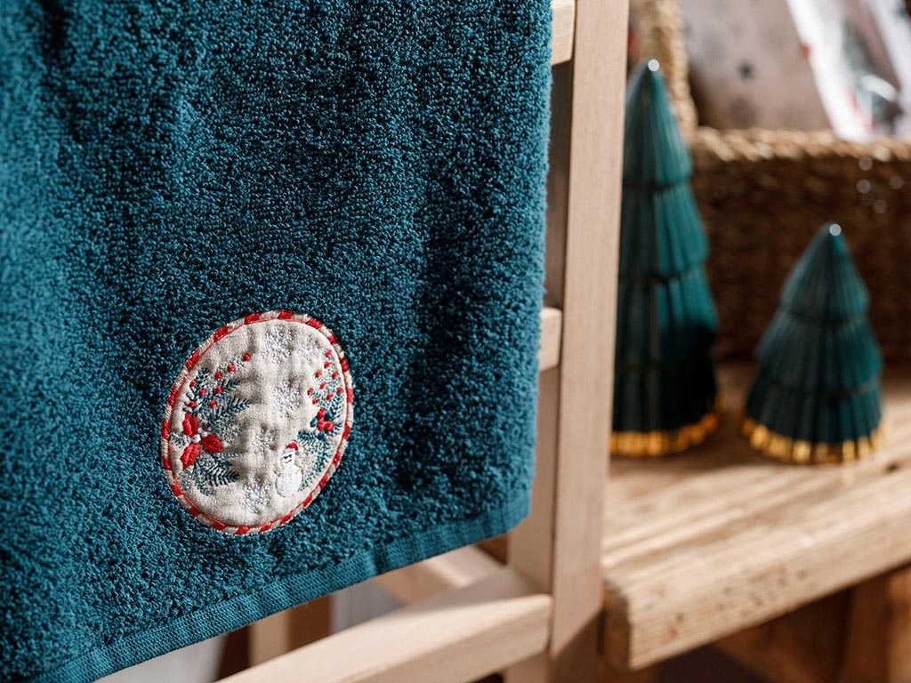 Winter Time Embroidered Packed Souvenır Towel 40x60 Cm Yeşil