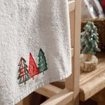 Christmas Tree Yd Embroidered Packaged Souvenir Towel 40x60 Cm Ecru