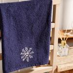 Snow Flake Embroidered Packaged Souvenir Towel 40x60 Cm Navy Blue