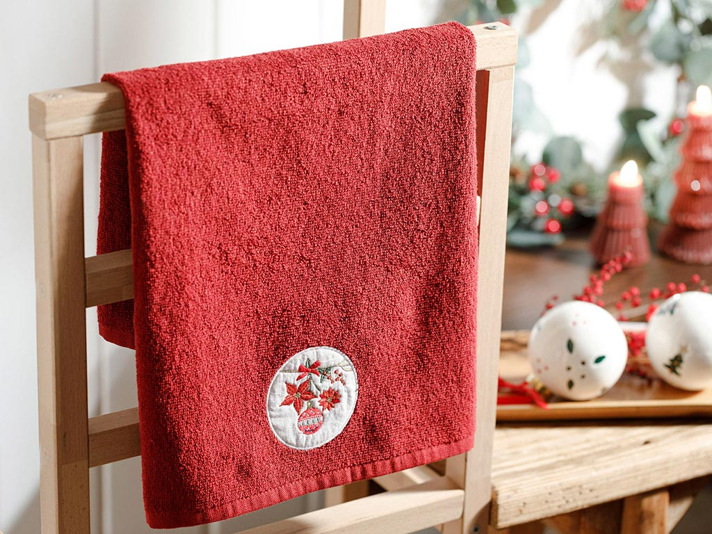 Christmas Ball Yd Embroidered Packaged Souvenir Towel 40x60 Cm Red