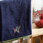 Winter Soul Embroidered Packaged Souvenir Towel 50x80 Cm Navy Blue