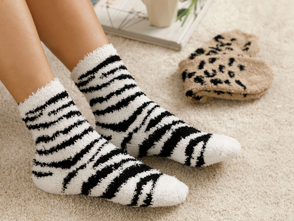 Leon Plush Socks Mix Cream