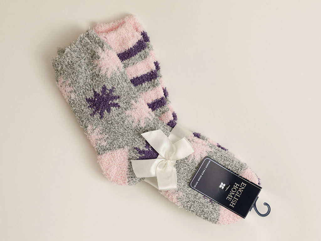 Snowflake Plush Socks Mix Beige-Purple