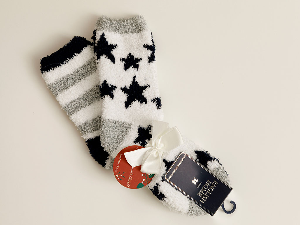 Starred Plush Socks Mix Light Cream-Navy Blue