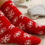 Snow Heart Plush Socks Mix Gray-Red