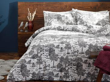 Winter Forest Flannel Duvet Cover Full Set Double Size 160x220 Cm Gray
