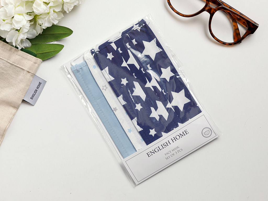 See Sky Cotton Mask 9,5x18 Cm Navy Blue-Blue