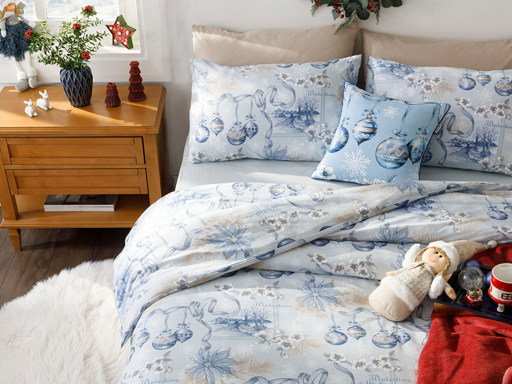 Wintertime Cotton Duvet Cover Full Set Single Size 160x220 Cm Blue