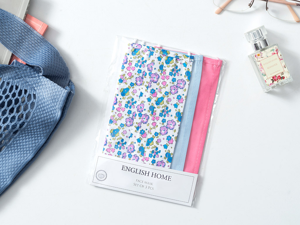 Flower Cotton Mask 9,5x18 Cm Blue-Pinkle