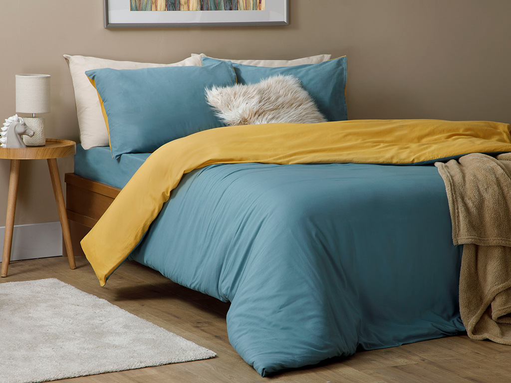 Plain Cotton Duvet Cover Full Set Double Size 200x220 Cm Celadon