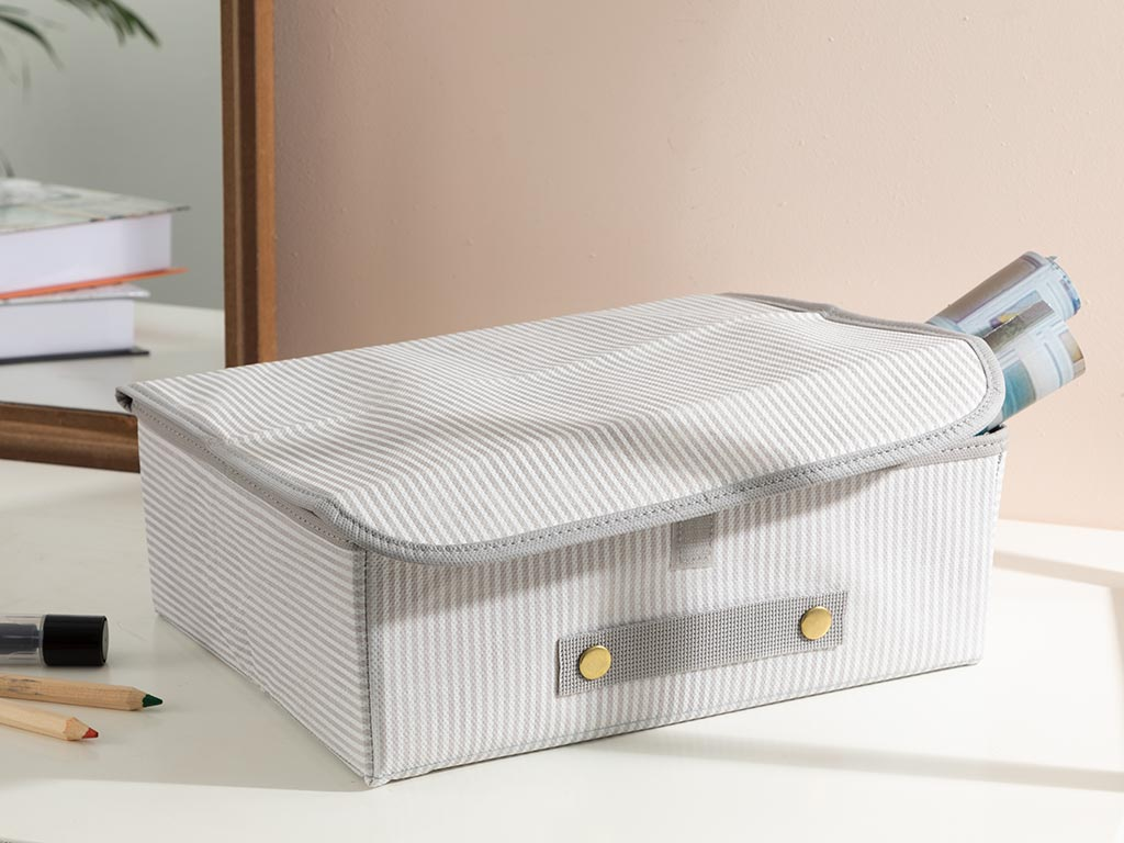 Thin Stripe Polypropilen Storage Box 30x23x11 Cm Gray