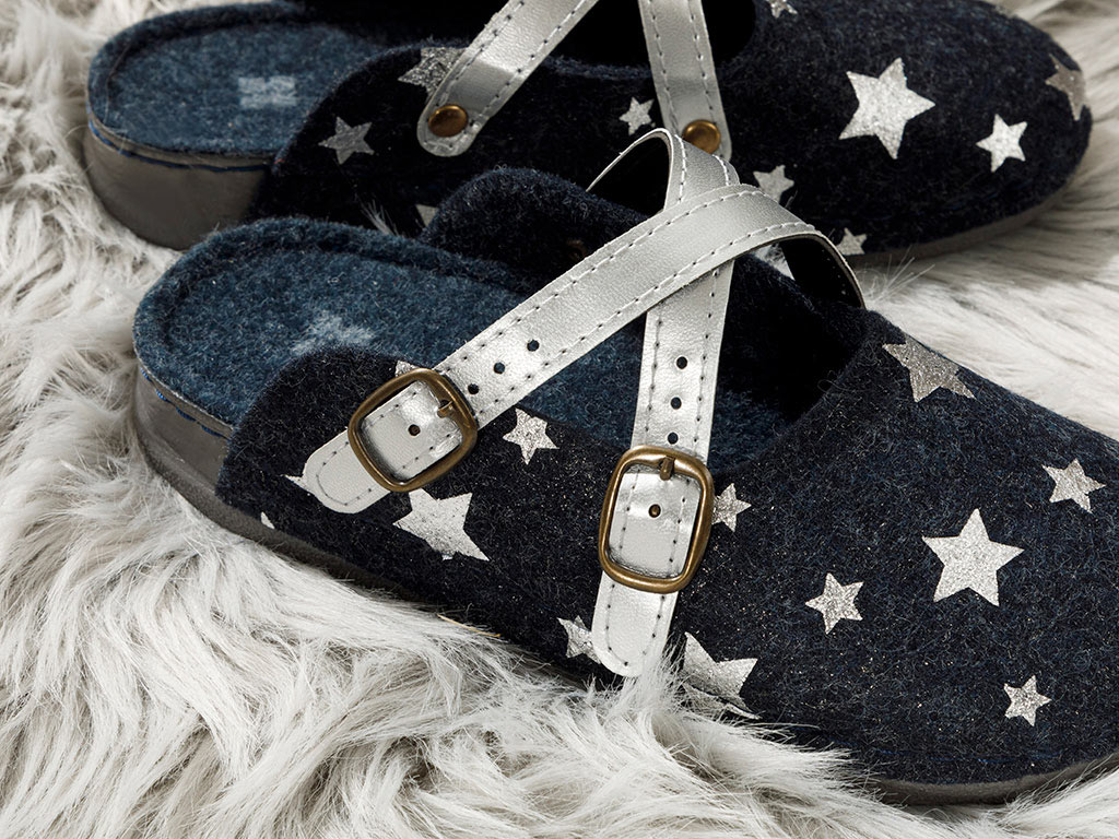 Peace Star Women's Home Slippers 37 Navy Blue