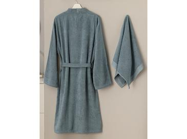 Plain Bathrobe Set 2 Piece S-M Indigo Blue