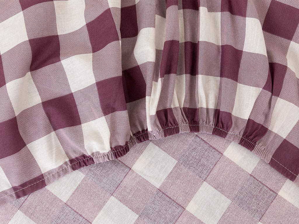 Gingham Cotton Fitted Bed Sheet Single Size 100x200 Cm Damson