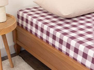 Gingham Cotton Fitted Bed Sheet King Size 180x200 Damson