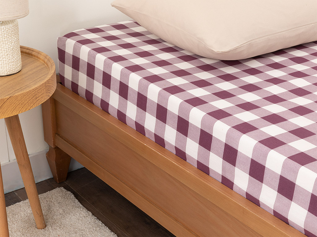 Gingham Cotton Fitted Bed Sheet Super King 200x200 Damson