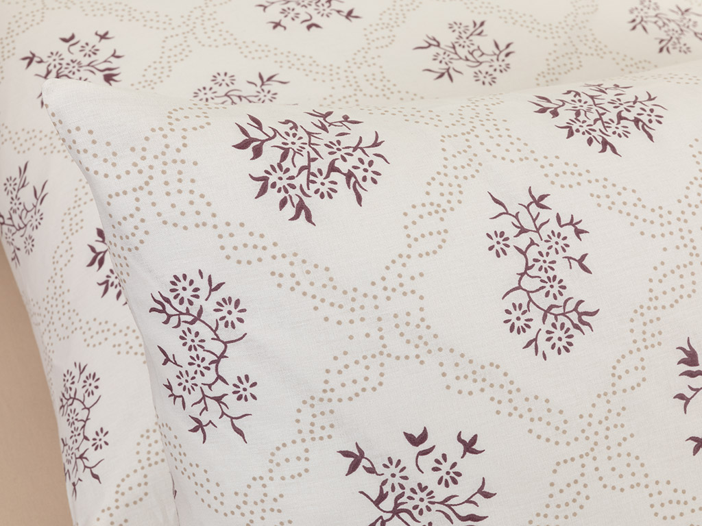 Vintage Floral Cotton Pillowcase 2 Piece 50x70 Cm Damson