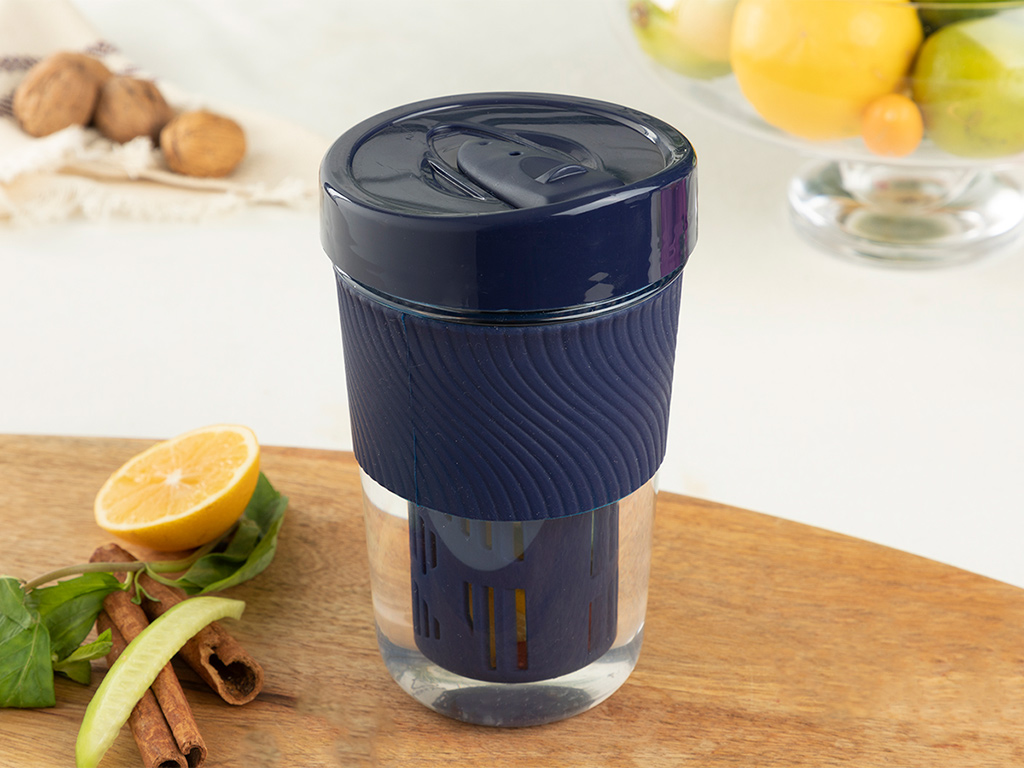 Lola Tritan Detox Glass With Strainer 600 Ml Navy Blue