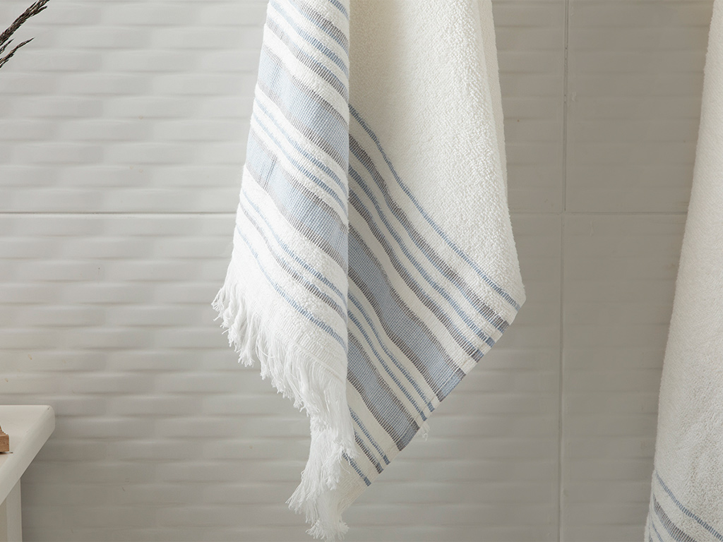 Retro Striped Bath Towel Set 2 Piece 50x85 Cm - 70x150 Cm Ecru-Blue