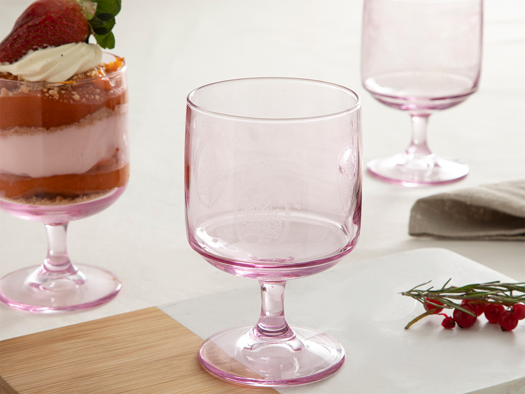 Fancy Glass Cup 3 Piece 300 Ml Pink