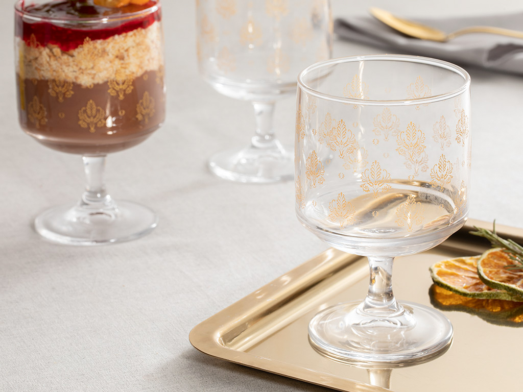 Alder Glass Cup 3 Piece 185 Ml Gold
